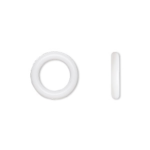 component, oh! ring™, silicone, white, 12mm round with 8mm hole. sold per pkg of 200.