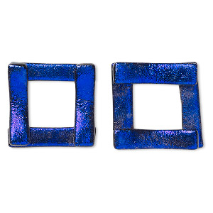 component, paula radke, dichroic glass, dark purple, 19-20mm open square. sold per pkg of 2.
