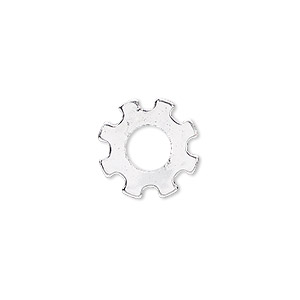 component, silver-finished steel, 15mm gear with 6mm center hole. sold per pkg of 10.