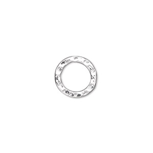 component, silver-plated steel, 12mm double-sided hammered open round. sold per pkg of 12.