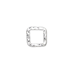 component, silver-plated steel, 12x12mm double-sided hammered open square. sold per pkg of 12.