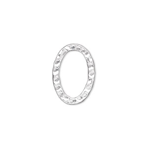component, silver-plated steel, 18x13mm double-sided hammered open oval. sold per pkg of 12.