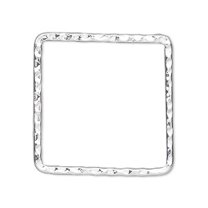 component, silver-plated steel, 28x28mm double-sided hammered open square. sold per pkg of 8.