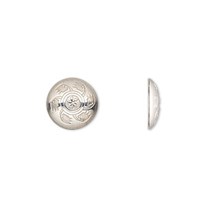 component, sterling silver, 11mm round single-sided round concho with fancy design. sold individually.