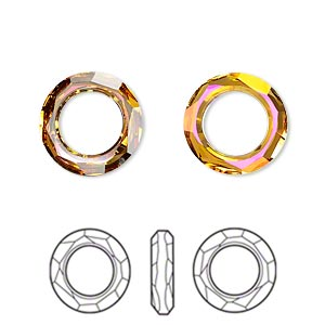 component, swarovski crystals, crystal astral pink, 14mm faceted cosmic ring fancy stone (4139). sold per pkg of 72.
