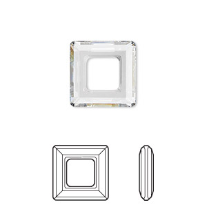 component, swarovski crystals, crystal clear, 14x14mm faceted square ring fancy stone (4439). sold per pkg of 72.