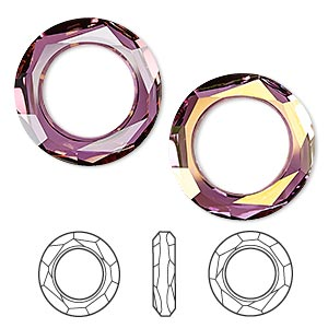 component, swarovski crystals, crystal lilac shadow, 20mm faceted cosmic ring fancy stone (4139). sold per pkg of 24.
