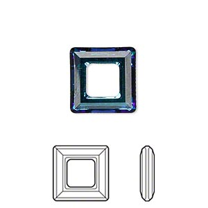 component, swarovski crystals, crystal passions, crystal bermuda blue, 14x14mm faceted square ring fancy stone (4439). sold individually.