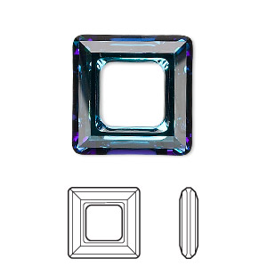 component, swarovski crystals, crystal passions, crystal bermuda blue, 20x20mm faceted square ring fancy stone (4439). sold individually.
