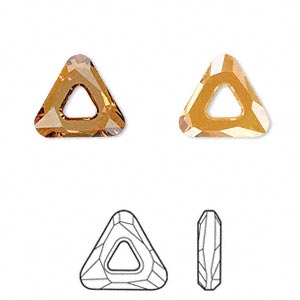 component, swarovski crystals, crystal passions, crystal copper, 14x14x14mm faceted cosmic triangle fancy stone (4737). sold per pkg of 24.