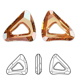 component, swarovski crystals, crystal passions, crystal copper, 23x20mm faceted organic cosmic triangle fancy stone (4736). sold individually.