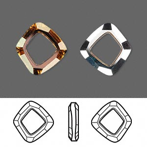 component, swarovski crystals, crystal passions, crystal copper cal v si, 14x13mm faceted cosmic square ring fancy stone (4437). sold per pkg of 12.