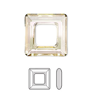 component, swarovski crystals, crystal passions, crystal luminous green, 20x20mm faceted square ring fancy stone (4439). sold individually.