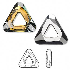 component, swarovski crystals, crystal passions, crystal tabac, 20x20x20mm faceted cosmic triangle fancy stone (4737). sold individually.