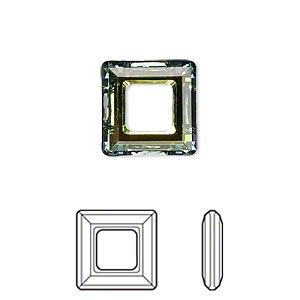 component, swarovski crystals, crystal sahara, 14x14mm faceted square ring fancy stone (4439). sold per pkg of 72.