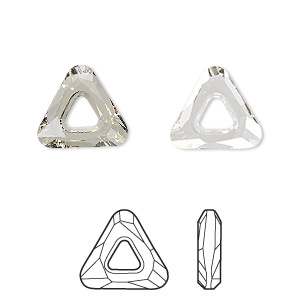 component, swarovski crystals, crystal silver shade, 14x14x14mm faceted cosmic triangle fancy stone (4737). sold individually.