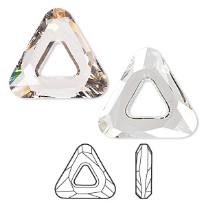 component, swarovski crystals, crystal silver shade, 20x20x20mm faceted cosmic triangle fancy stone (4737). sold individually.