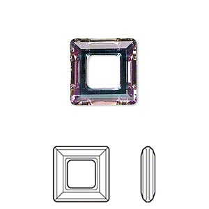 component, swarovski crystals, crystal vitrail light, 14x14mm faceted square ring fancy stone (4439). sold per pkg of 72.