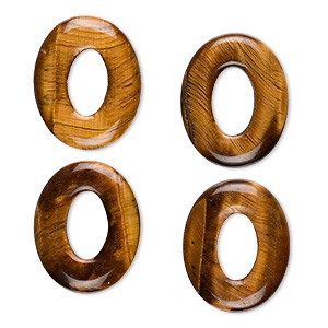 component, tigereye (natural), 20x16mm oval donut, b grade, mohs hardness 6 to 6-1/2. sold per pkg of 4.