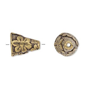 cone, antique brass-plated pewter (tin-based alloy), 14x12mm textured round with flower design, fits 12-14mm bead. sold individually.