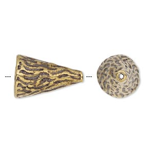 cone, antique brass-plated pewter (tin-based alloy), 19.5x12mm textured round with line design, fits 12-14mm bead. sold individually.