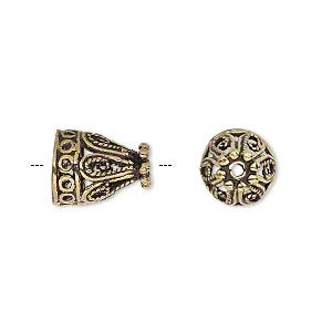 cone, antique gold-finished brass, 13x10mm filigree, 8mm hole. sold per pkg of 6.