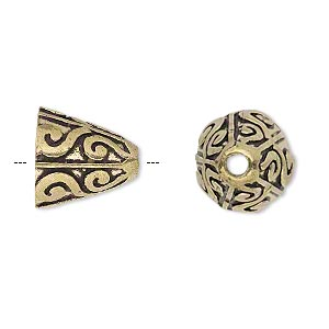 cone, antique gold-finished brass, 14x14mm scroll design, 10mm hole. sold per pkg of 2.