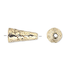 cone, antique gold-plated pewter (tin-based alloy), 18x10mm hammered round, fits 8-10mm bead. sold per pkg of 2.