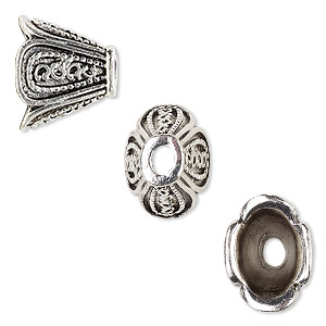 cone, antique silver-finished pewter (zinc-based alloy), 16x13x12mm flat oval flower, 10.5x7mm inside diameter. sold per pkg of 6.