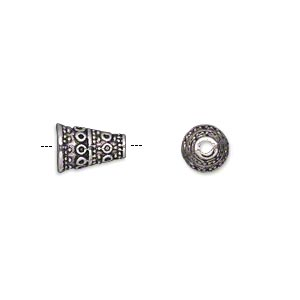 cone, antique silver-plated pewter (zinc-based alloy), 10x7mm fancy, 5mm inside diameter. sold per pkg of 500.