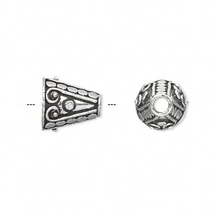 cone, antique silver-plated white brass, 12x11mm fancy with circles and swirls, 8mm inside diameter. sold per pkg of 4.