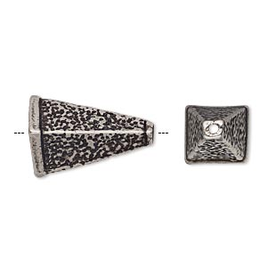 cone, antiqued silver-plated pewter (tin-based alloy), 20x10.5mm textured 4-sided, fits 8x7mm bead. sold individually.