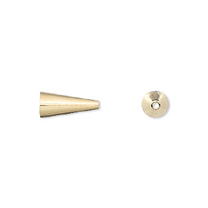 cone, gold-plated brass, 12x5mm with 3.5mm inside diameter. sold per pkg of 100.