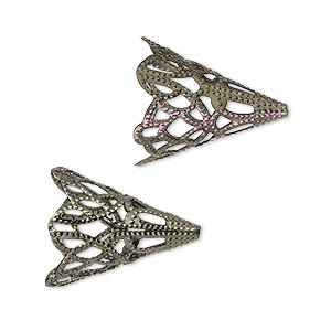 cone, gunmetal-plated aluminum, rainbow, 20x17mm filigree, fits 14mm bead. sold per pkg of 25.