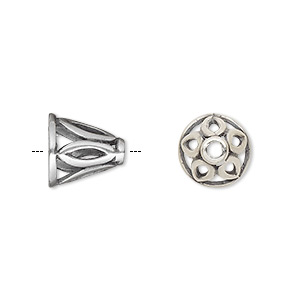 cone, jbb findings, antique silver-plated brass, 11x11mm with cutout marquise design, fits 8.5mm bead. sold individually.