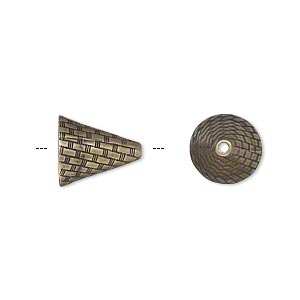 cone, jbb findings, antiqued brass, 12x10.5mm woven texture, fits 10-14mm beads. sold individually.