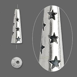 cone, jbb findings, antiqued sterling silver, 20x6mm with cutout stars, 4.5mm inside diameter. sold individually.