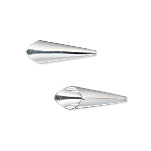 cone, silver-plated brass, 21x7mm smooth, fits 6mm bead. sold per pkg of 12.