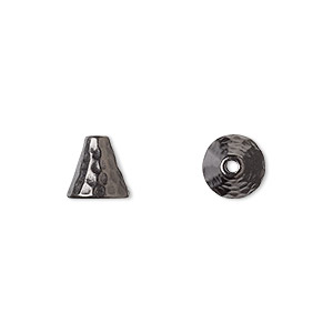 cone, tierracast, black-plated pewter (tin-based alloy), 8x8mm hammered, fits 6-8mm bead. sold per pkg of 2.