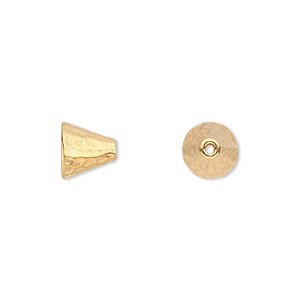 cone, tierracast, gold-plated pewter (tin-based alloy), 8mm hammered, 5mm inside diameter. sold per pkg of 2.
