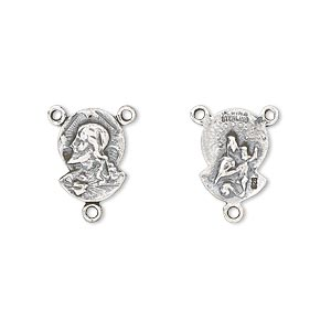 connector, antiqued sterling silver, 12x9mm double-sided sacred heart rosary center. sold per pkg of 2.