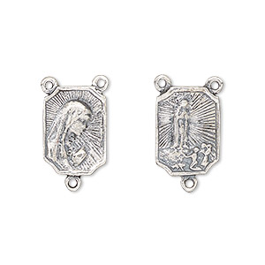 connector, antiqued sterling silver, 14x10mm rectangle, mary and our lady of fatima rosary center. sold individually.