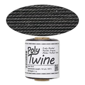 cord, 3-ply bonded polyester twine, black, 1mm diameter. sold per 2-ounce spool.