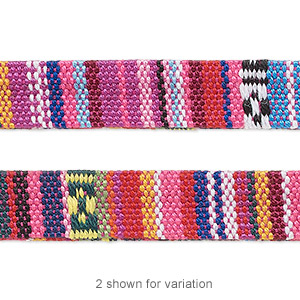 cord, cotton and polyurethane, pink and multicolored, 10mm flat with line design. sold per pkg of 1 meter.