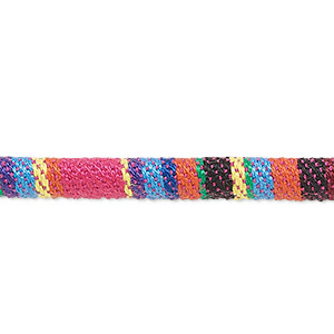 cord, cotton, multicolored, 6-7mm round with line design. sold per pkg of 1 meter.