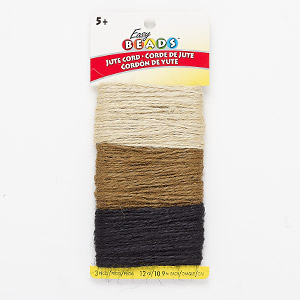 cord, easy beads™, jute, tan / brown / black, 2mm wide. sold per pkg of 12 yards.