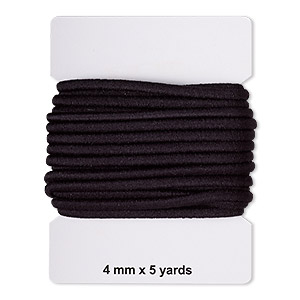 cord, elastic rubber and nylon, black, 4mm diameter. sold per pkg of 5 yards.