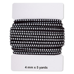 cord, elastic rubber and nylon, black and white, 4mm diameter with dots. sold per pkg of 5 yards.