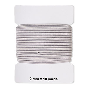 cord, elastic rubber and nylon, grey, 2mm diameter. sold per pkg of 10 yards.
