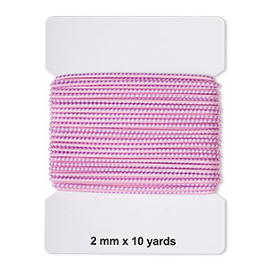 cord, elastic rubber and nylon, pink and purple, 2mm diameter with dots. sold per pkg of 10 yards.